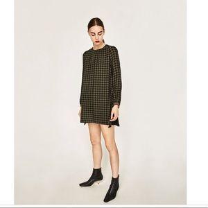 Zara Check Jumpsuit Romper Dress with Studs Sz XS